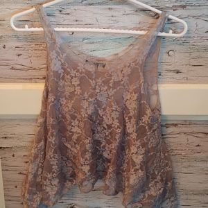 Small Gray Floral Lace Muscle Tee